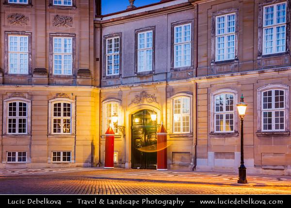 Europe - Denmark - Danmark - Copenhagen - Kopenhagen - København - Køpmannæhafn - Köpenhamn - Capital City - Amalienborg Palace - Winter home of Danish royal family - Dusk - Twilight - Blue Hour - Night