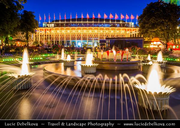Europe - Denmark - Danmark - Copenhagen - Kopenhagen - København - Køpmannæhafn - Köpenhamn - Capital City - Tivoli Gardens - Amusement Park, named in reference to Parisian garden - Dusk - Twilight - Blue Hour - Night