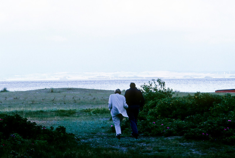 In 1961 a young Danish girl joined Gayle's family as an AFS exchange student. The next year, Gayle went to Denmark to visit Elsebeth who now felt like her sister. When I married Gayle, I got to join the family, too.<br /> <br /> Here Elsebeth and her husband Peter walk toward the sea from their cottage in Liegaard.