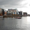 River Liffey, with the ship Jeanne Johnson, the Convention Center, and the Samuel Beckett Bridge.