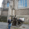 "Michael with ""Molly Malone"" statue"