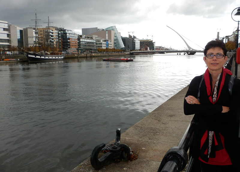 Jeanie Johnston,seen here on the River Liffey, is a replica of a three masted barque that was originally built in Quebec, Canada, in 1847 by the Scottish-born shipbuilder John Munn. This type ship was routinely used to take immigrants from Ireland to Ellis Island in New York. (source: Wikipedia)