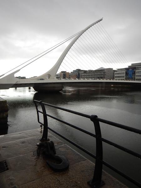 the Samuel Beckett bridge, shaped to resemble the iconic Irish harp.