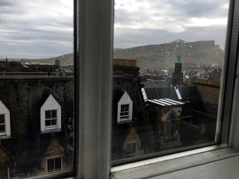 View from our room out towards Arthur's Seat.
