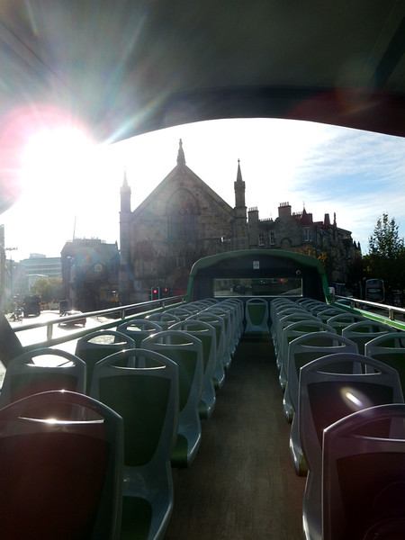 On the hop-on, hop-off bus tour of the city