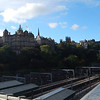 looking back from Waverely Station towards  the Bank of Scotland,  Edinburgh University and Edinburgh Castle