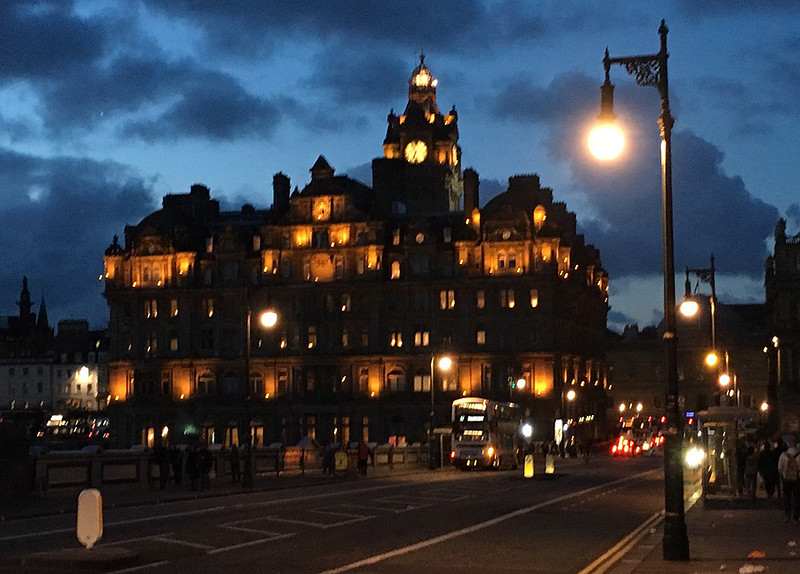 The Balmoral hotel at night