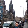 Robin. on the Royal Mile, with St. Columba steeple in back.