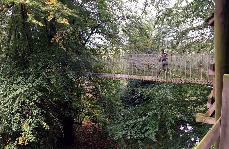 Robin on a rope bridge at The Treehouse,  at Alnwick Castle