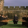 Closer to the wall, but a scene from the first Harry Potter film, in this same courtyard.