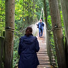 Todd crossing a rope bridge at The Treehouse,  at Alnwick Castle