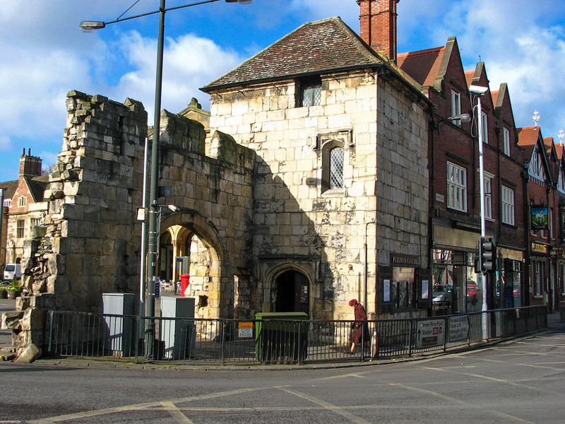 End of the St. Mary's Abbey wall, across from Bootham Bar -- You can see where the wall was knocked down to build the street