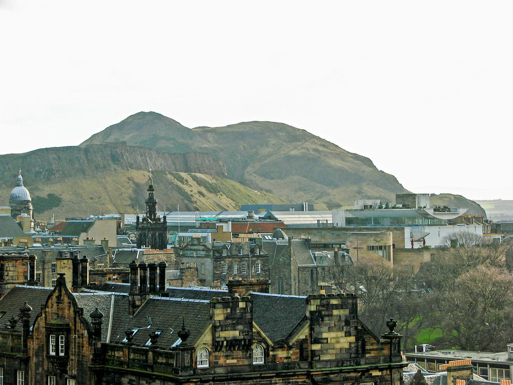 View of Old Town and Arthur's Seat from Edinburgh Castle