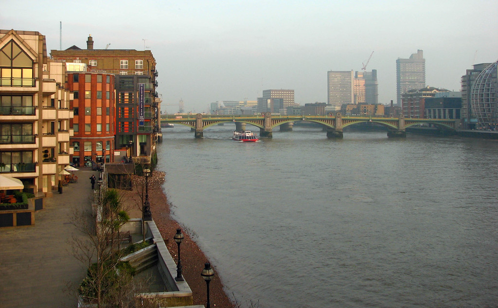 Looking toward the Southwark Bridge from the Millennium Bridge