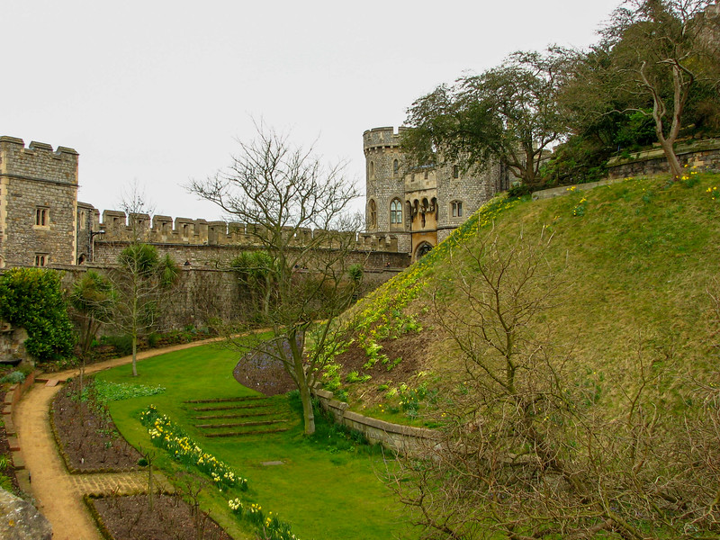 Garden in the moat at Windsor Castle, below the Round Tower