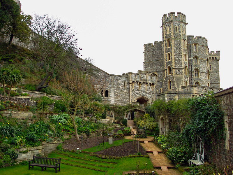 Gardens in the moat at Windsor Castle