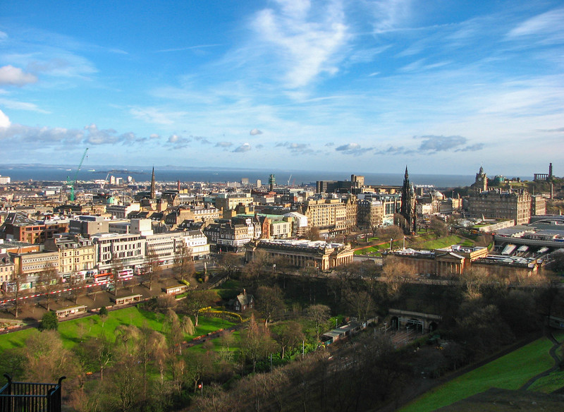 Edinburgh and the Princes Street Gardens, seen from Edinburgh Castle