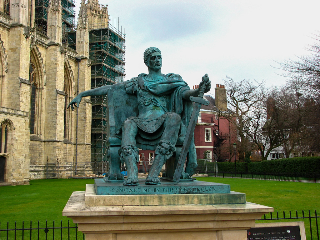Constantine statue outside Yorkminster -- Constantine was crowned emporer of Rome near this spot in York