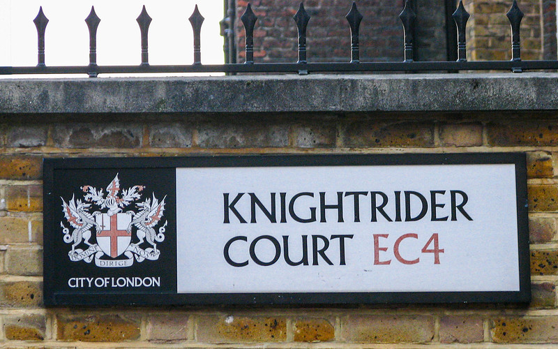 At the corner of Knightrider Street and Knightrider Court, near the Millennium Bridge