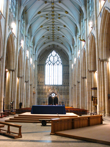 Looking west down the nave at Yorkminster
