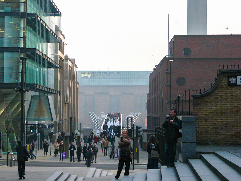 Walking toward the Millennium Bridge from St. Paul's Cathedral