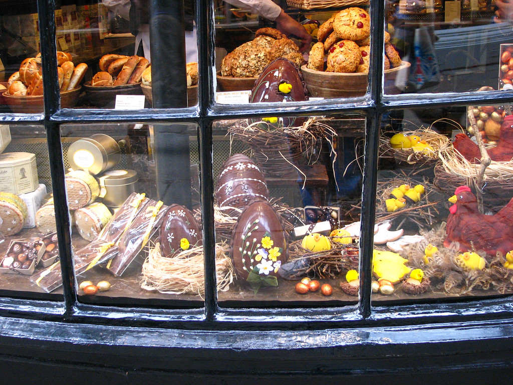 Chocolate Easter treats in a bakery in York