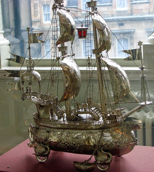 Silver ship in the Museum of Scotland
