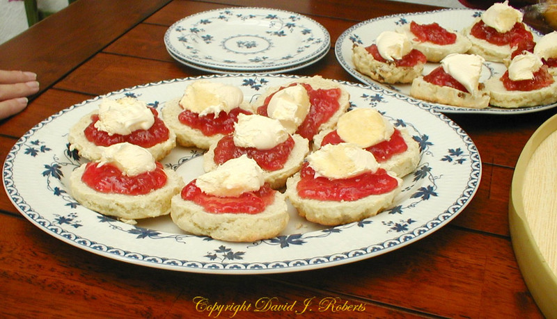 Clotted Cream on biscuits, Cornwall, England