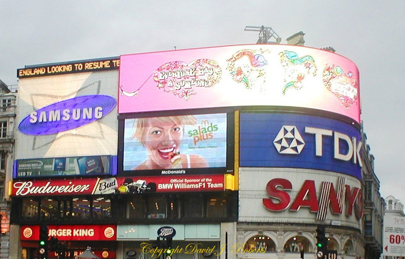 Piccadilly Circus building signs in London, England