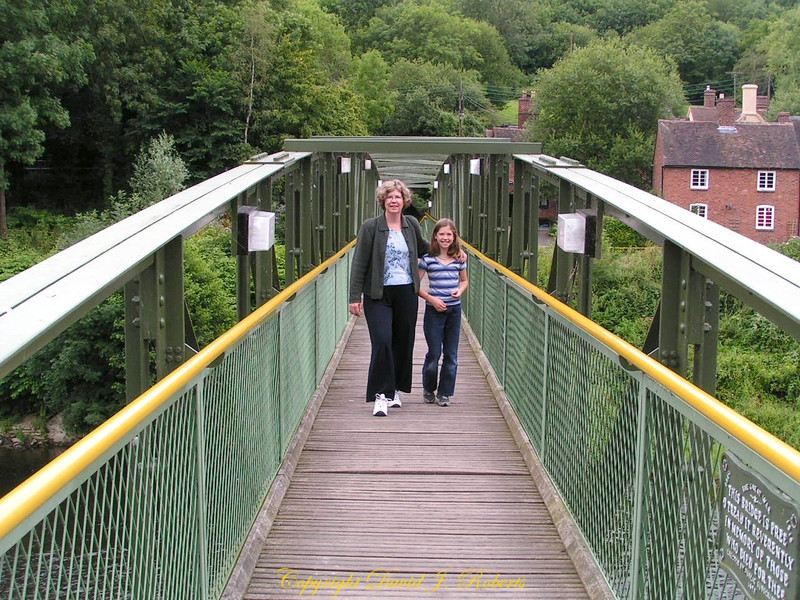 Rachel and Allison crossing Iron Bridge, Shropshire, England