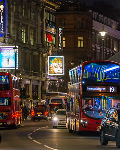 Looking down Shaftesbury Ave at the Queens Theatre where we saw Les Miserables the last time we were in London.