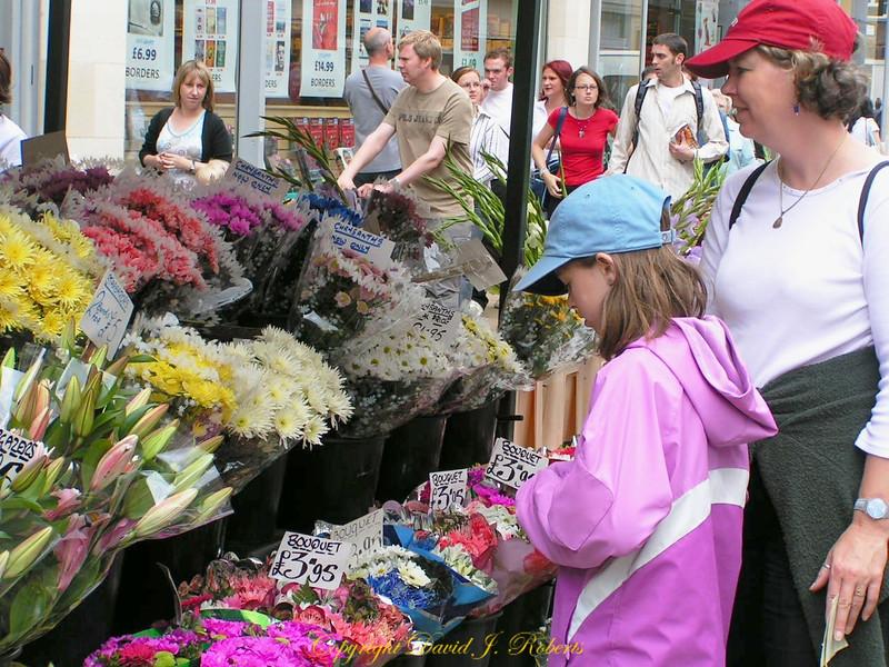 Flower stall in York Market, England
