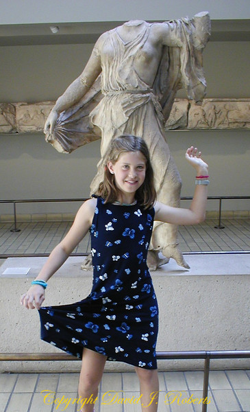 Rachel mimics a statue in the British Museum