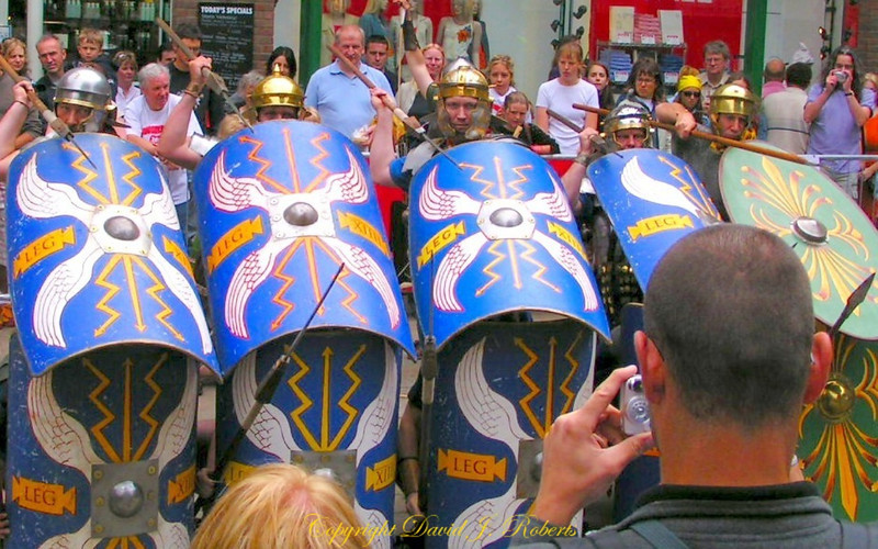 Roman Soliders in Battle re-enactment, Viking Days, York, England