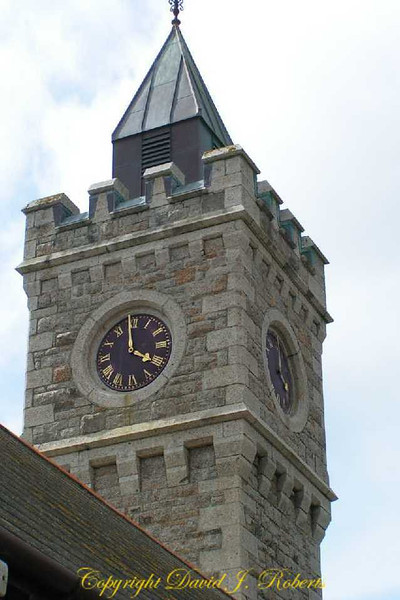 This clock tower oversees the harbor in Porthleven, Cornwall, England