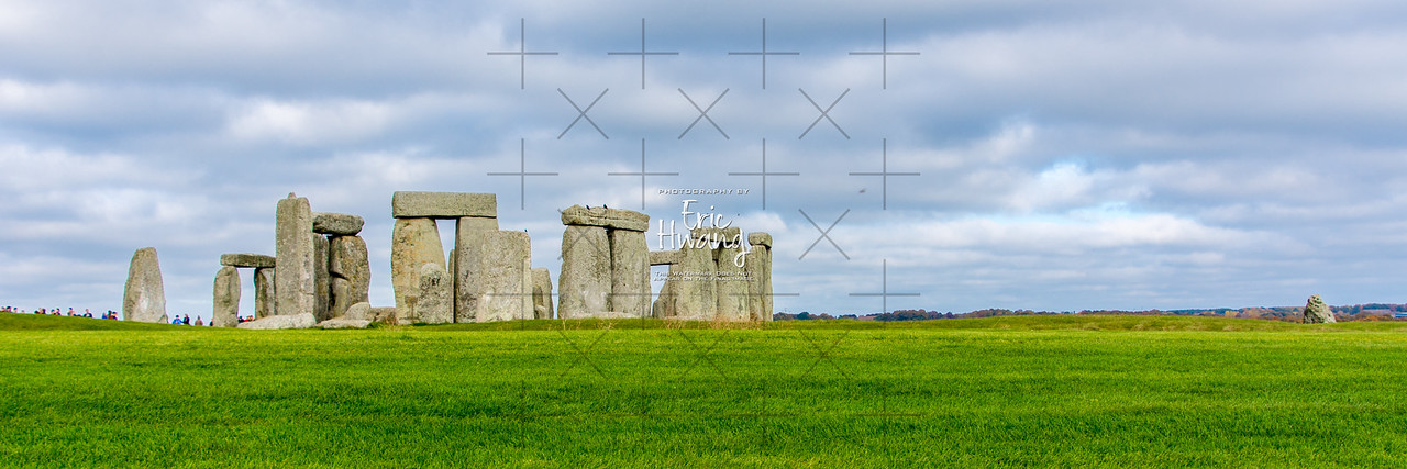 Stonehenge from the south with the heel stone on the far right.