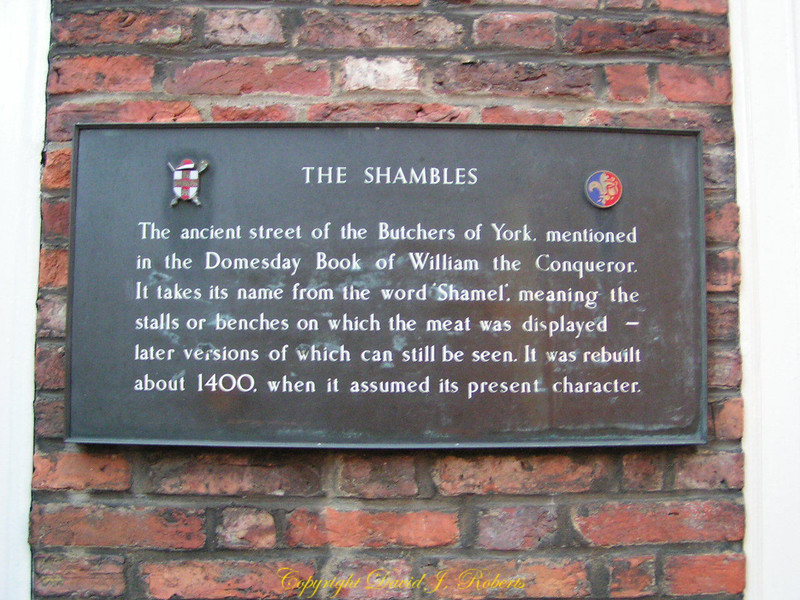 Sign to the Shambles, York, England