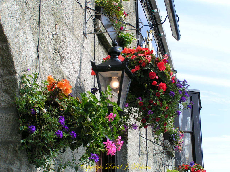 Flowers and street lamp in Porthleven, Cornwall, England