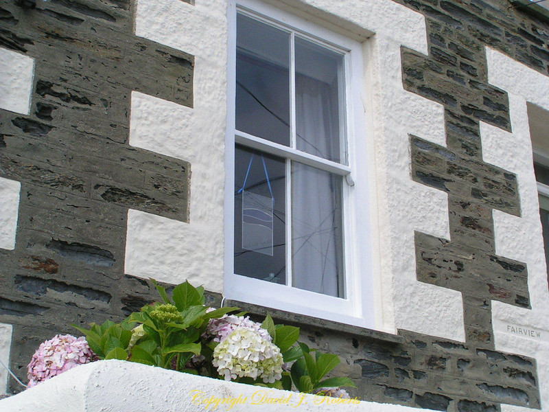 Brickwork on a home in Porthleven, Cornwall, England