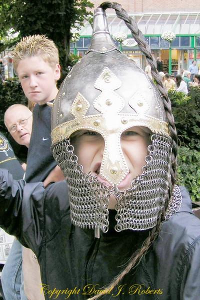 Ryan as a Viking warrior at Viking Days in York England