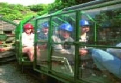 Riding the train into the Llechwedd Slate Caverns