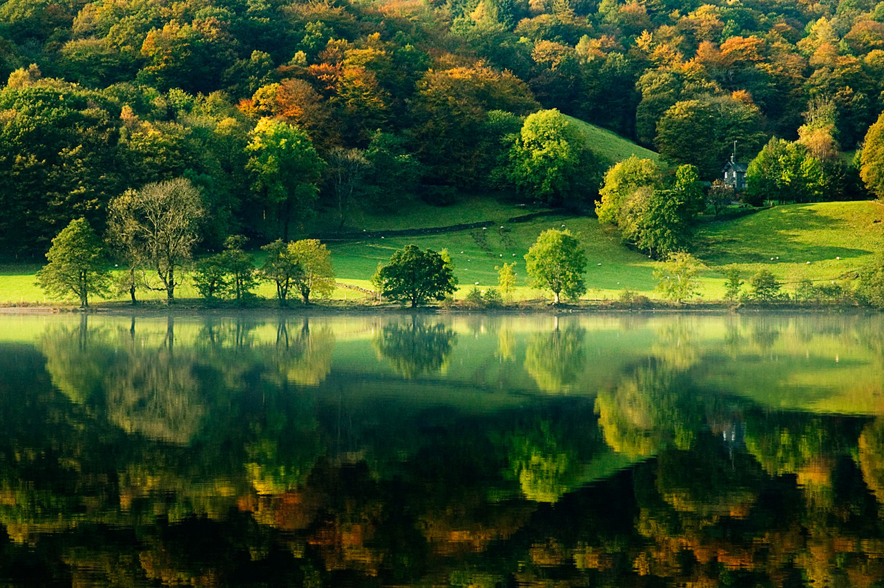 Shot of Grasmere in the English Lake District as the autumn colors start to come through