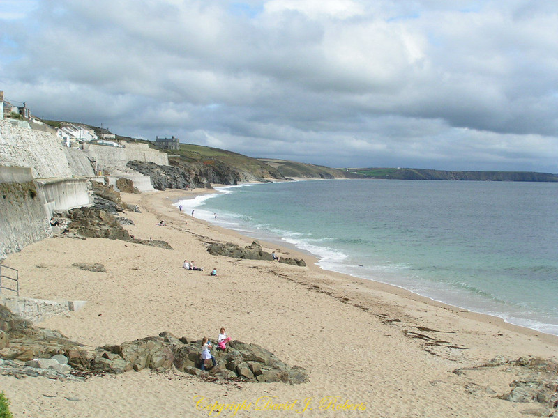 Beach east of Porthleven harbor, Cornwall, England