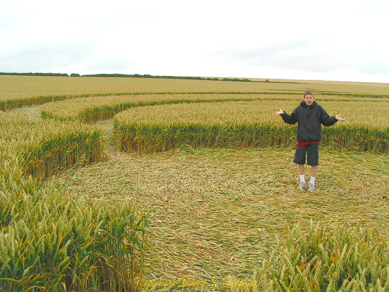 Ryan wants to know how this crop circle was formed. We visited several in one day. Very intriguing! Avebury, England.