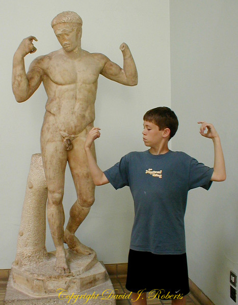 Ryan mimics a statue in the British Museum