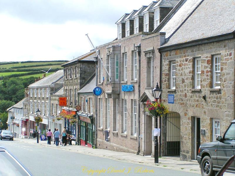Main Street of Helston, Cornwall, England