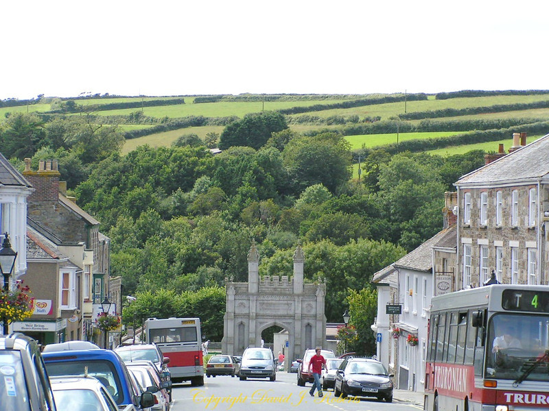 View from Helston main street, Cornwall, England