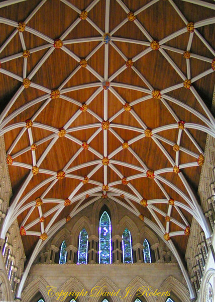 Ceiling of the York Minster, England. This was the part of the cathedral that burned and was rebuilt.