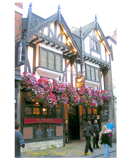 Public house in York, England with gorgeous flowers