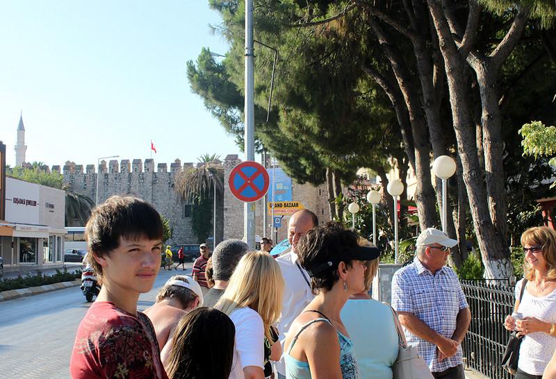 "At the port of Kusadasi (""Koosha-dah-shi""), Turkey, about to start our drive to Ephesus."